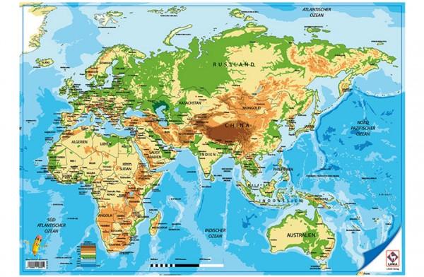 Weltkarte ohne Nord- und Südamerika-Poster A2