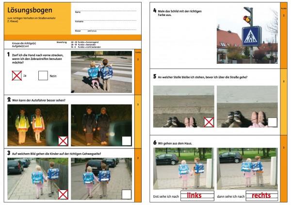 Der schlaue Fußgänger - Lösungsschablone zum Prüfbogen