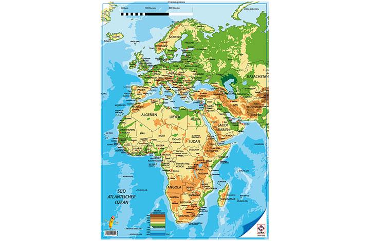 Weltkarte Europa Und Afrika Poster A2 Zusatzmaterial